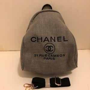 Chanel VIP gift Backpack Cross Body Bag Gray